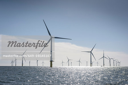 View of offshore windfarm from service boat at sea Stock Photo - Premium Royalty-Free, Image code: 649-08145107
