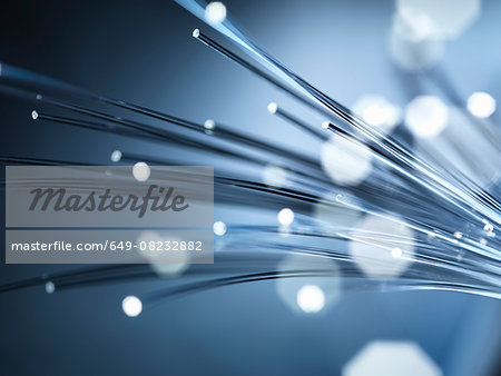 Bundles of illuminated optical fibres used to carry high volumes of data Stock Photo - Premium Royalty-Free, Image code: 649-08232882