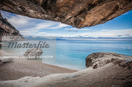 Elevated view of coastline and rocky beach, Ogliastra, Sardinia, Italy Stock Photo - Premium Royalty-Free, Image code: 649-08479379