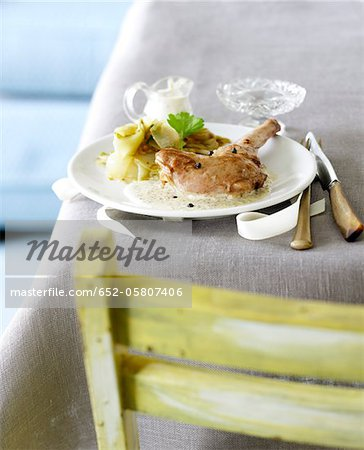 Rabbit in mustard sauce Stock Photo - Premium Royalty-Free, Image code: 652-05807406