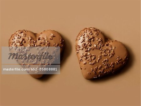 Heart-shaped chocolate biscuits Stock Photo - Premium Royalty-Free, Image code: 652-05808881