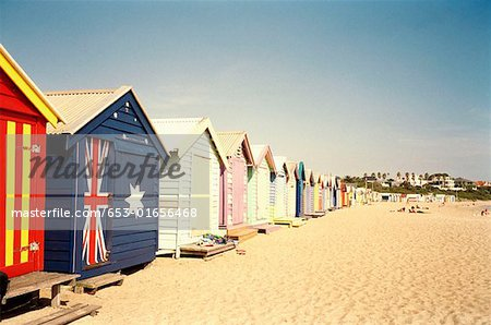 Row of colorful beach huts in summer, Brighton, Melbourne, Australia Stock Photo - Premium Royalty-Free, Image code: 653-01656468