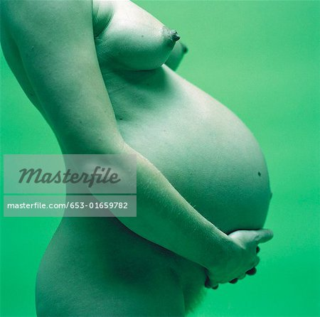 Side view of nude pregnant woman holding her stomach Stock Photo - Premium Royalty-Free, Image code: 653-01659782