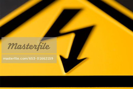 Close-up of 'High voltage' warning sign Stock Photo - Premium Royalty-Free, Image code: 653-01662159