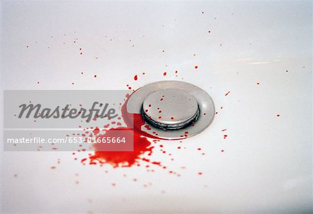 Blood in a bathroom sink Stock Photo - Premium Royalty-Free, Image code: 653-01665664