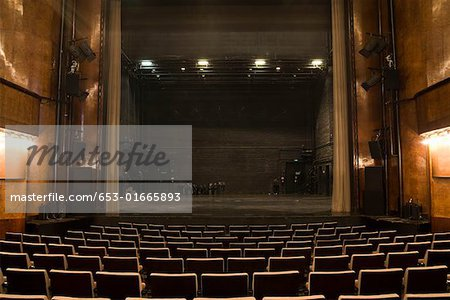 View of the stage in an empty theater Stock Photo - Premium Royalty-Free, Image code: 653-01665893