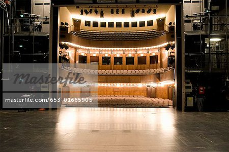 View of an illuminated art deco theater from backstage Stock Photo - Premium Royalty-Free, Image code: 653-01665905