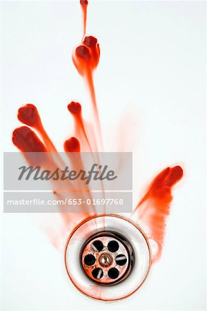 Blood washing down a plughole Stock Photo - Premium Royalty-Free, Image code: 653-01697768