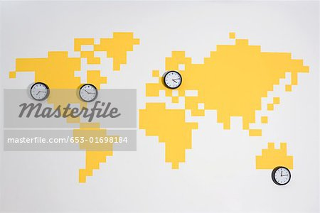 Clocks on a world map Stock Photo - Premium Royalty-Free, Image code: 653-01698184