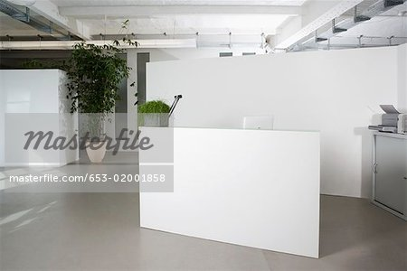 Reception desk in the foyer of an office building   stock photos ...