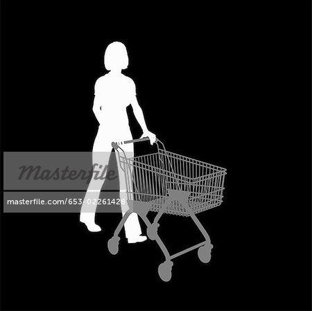 Silhouette of a woman pushing a shopping trolley Stock Photo - Premium Royalty-Free, Image code: 653-02261428
