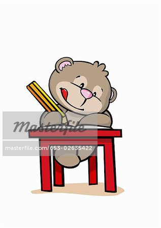 A cartoon bear at school Stock Photo - Premium Royalty-Free, Image code: 653-02635422