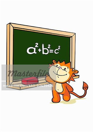 A cartoon tiger standing in front of a blackboard Stock Photo - Premium Royalty-Free, Image code: 653-02635426