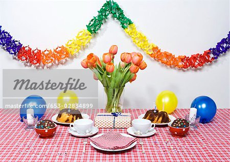 A table set for a party Stock Photo - Premium Royalty-Free, Image code: 653-02834899