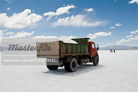 A dump truck on a salt flat, Salinas Grandes, Argentina Stock Photo - Premium Royalty-Free, Image code: 653-02834931