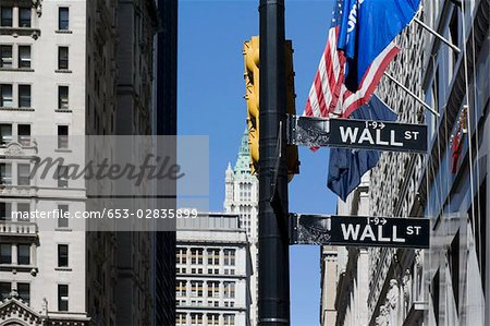 Signs for 'Wall Street', Manhattan, New York City Stock Photo - Premium Royalty-Free, Image code: 653-02835899