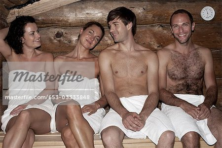 Four friends in a sauna Stock Photo - Premium Royalty-Free, Image code: 653-03333848