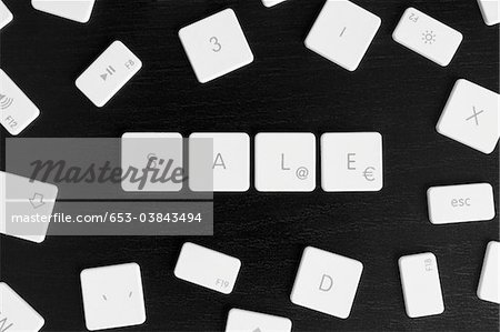 Computer keys spelling the word SALE Stock Photo - Premium Royalty-Free, Image code: 653-03843494