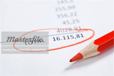 Invoice total close up Stock Photo - Premium Royalty-Free, Image code: 653-03844386