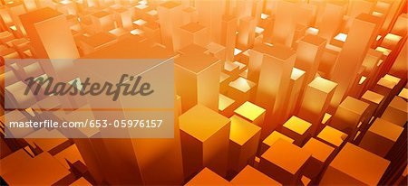 Orange three dimensional rectangular shapes Stock Photo - Premium Royalty-Free, Image code: 653-05976157