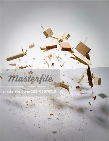 Wood exploding into pieces Stock Photo - Premium Royalty-Free, Image code: 653-05976713