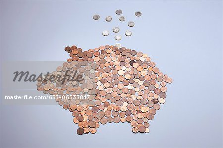 Euro coins falling into a piggy bank made from arranged European coins Stock Photo - Premium Royalty-Free, Image code: 653-06533847