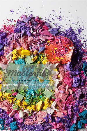 Various crushed up make-up powder products arranged in an abstract pattern Stock Photo - Premium Royalty-Free, Image code: 653-06533851
