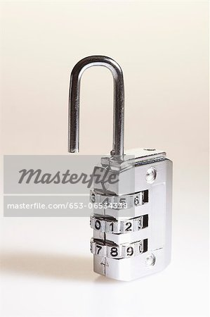 Combination padlock Stock Photo - Premium Royalty-Free, Image code: 653-06534338