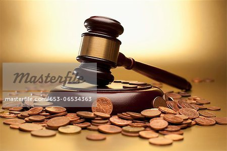 Gavel and sound block surrounded by euro coins Stock Photo - Premium Royalty-Free, Image code: 653-06534363