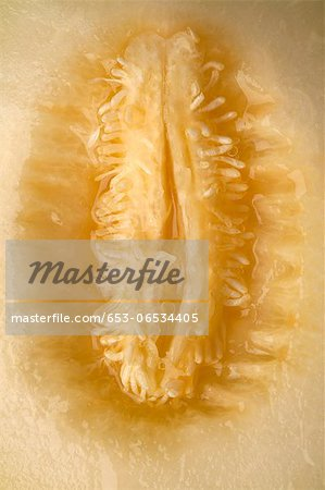 A cross section of honeydew melon that looks suggestive Stock Photo - Premium Royalty-Free, Image code: 653-06534405