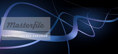 Graceful lines intertwining against a dark blue background Stock Photo - Premium Royalty-Free, Image code: 653-06819540