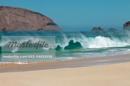Beach wave in La Graciosa, Canary Islands, Spain Stock Photo - Premium Royalty-Free, Image code: 653-06819598