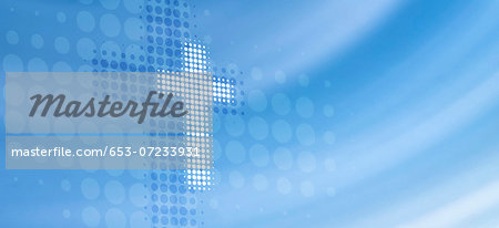 Dot patterned cross reflected on abstract surface Stock Photo - Premium Royalty-Free, Image code: 653-07233931