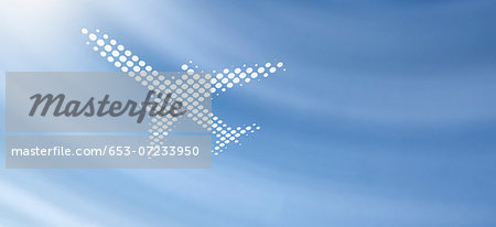 Spot patterned airplane against soft abstract background Stock Photo - Premium Royalty-Free, Image code: 653-07233950