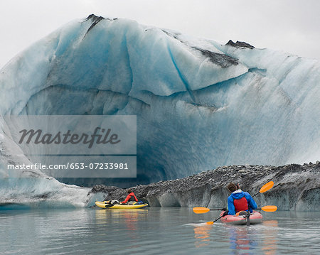 Kayaking beside ice cave at Valdez Glacier, Alaska, USA Stock Photo - Premium Royalty-Free, Image code: 653-07233981