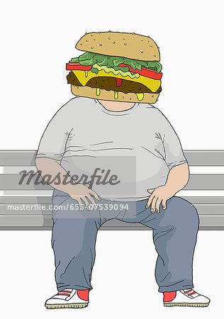 Illustration of an overweight man with a hamburger head Stock Photo - Premium Royalty-Free, Image code: 653-07539094