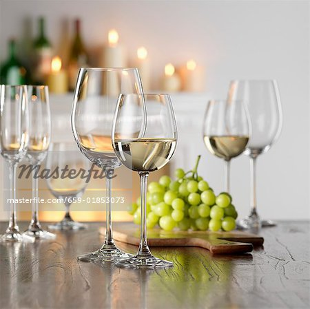 Still life with white wine in glass Stock Photo - Premium Royalty-Free, Image code: 659-01853073