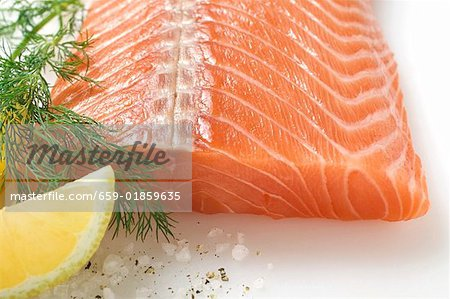 Salmon fillet, dill and lemon wedge Stock Photo - Premium Royalty-Free, Image code: 659-01859635