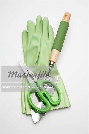 Green rubber gloves and garden tools Stock Photo - Premium Royalty-Free, Image code: 659-03535646