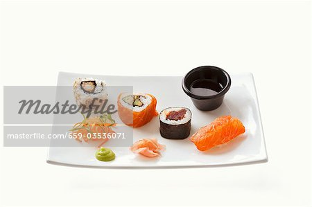 Sushi with wasabi, ginger and soy sauce Stock Photo - Premium Royalty-Free, Image code: 659-03536071