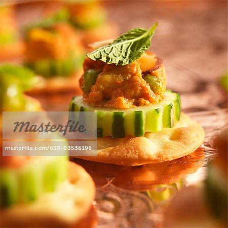Chicken Tikka Amuse Bouche on Cucumber and Cracker Stock Photo - Premium Royalty-Free, Image code: 659-03536196