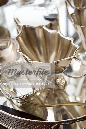 Silverware on a silver tray Stock Photo - Premium Royalty-Free, Image code: 659-06151752