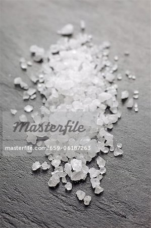 Sea salt on a slate platter Stock Photo - Premium Royalty-Free, Image code: 659-06187263