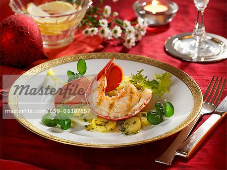 Lobster on a bed of parsley potatoes Stock Photo - Premium Royalty-Free, Image code: 659-06187657