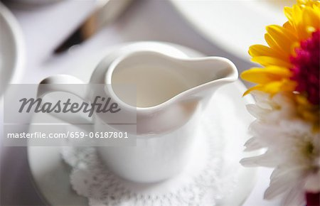Pitcher of Cream on a Table; Flowers Stock Photo - Premium Royalty-Free, Image code: 659-06187801