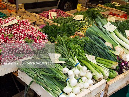 Produce on Display on the Street in Front of a Supermarket in Chamonix, France Stock Photo - Premium Royalty-Free, Image code: 659-06187960