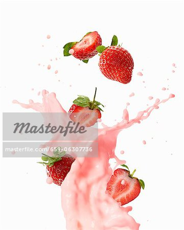 Strawberry milkshake Stock Photo - Premium Royalty-Free, Image code: 659-06307736