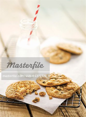 Chocolate Chip Cookies on a baking sheet Stock Photo - Premium Royalty-Free, Image code: 659-06372379