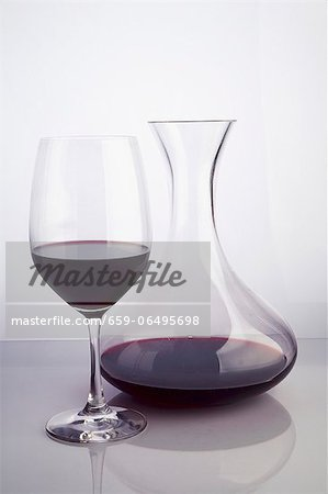 Red Wine in a Glass and Carafe Stock Photo - Premium Royalty-Free, Image code: 659-06495698
