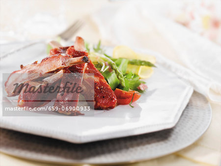 Barbecue Ribs with Asparagus Salad Stock Photo - Premium Royalty-Free, Image code: 659-06900933